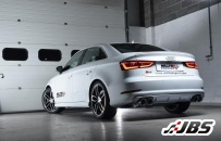 Non-Resonated, Non-Valved Cat-Back with Quad Black Oval Tips (For Audi S3 (8V) 2.0 T Saloon)